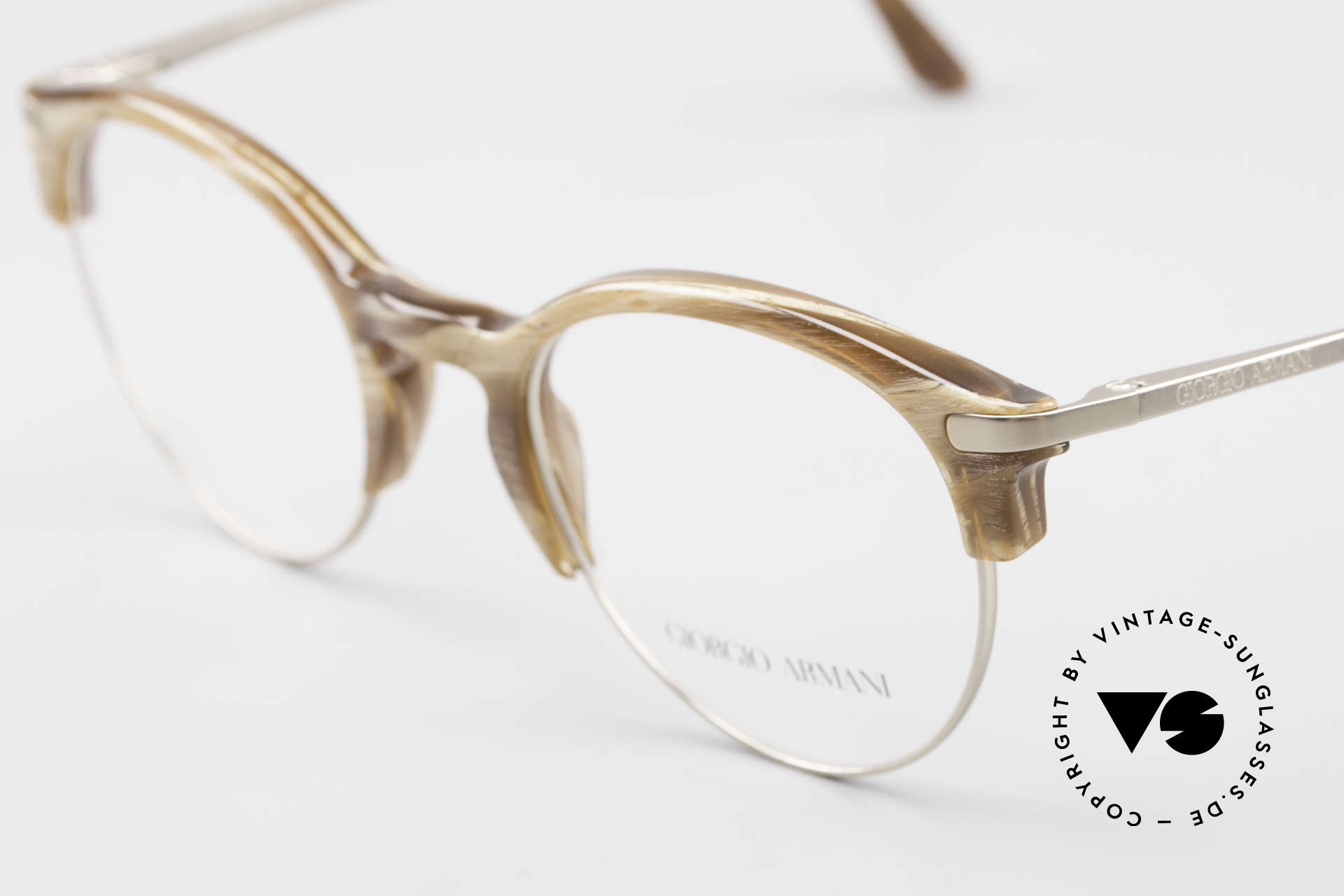 Giorgio Armani 7014 Panto Frame With Spring Hinges, elegant color combination (horn imitation and titan), Made for Men and Women