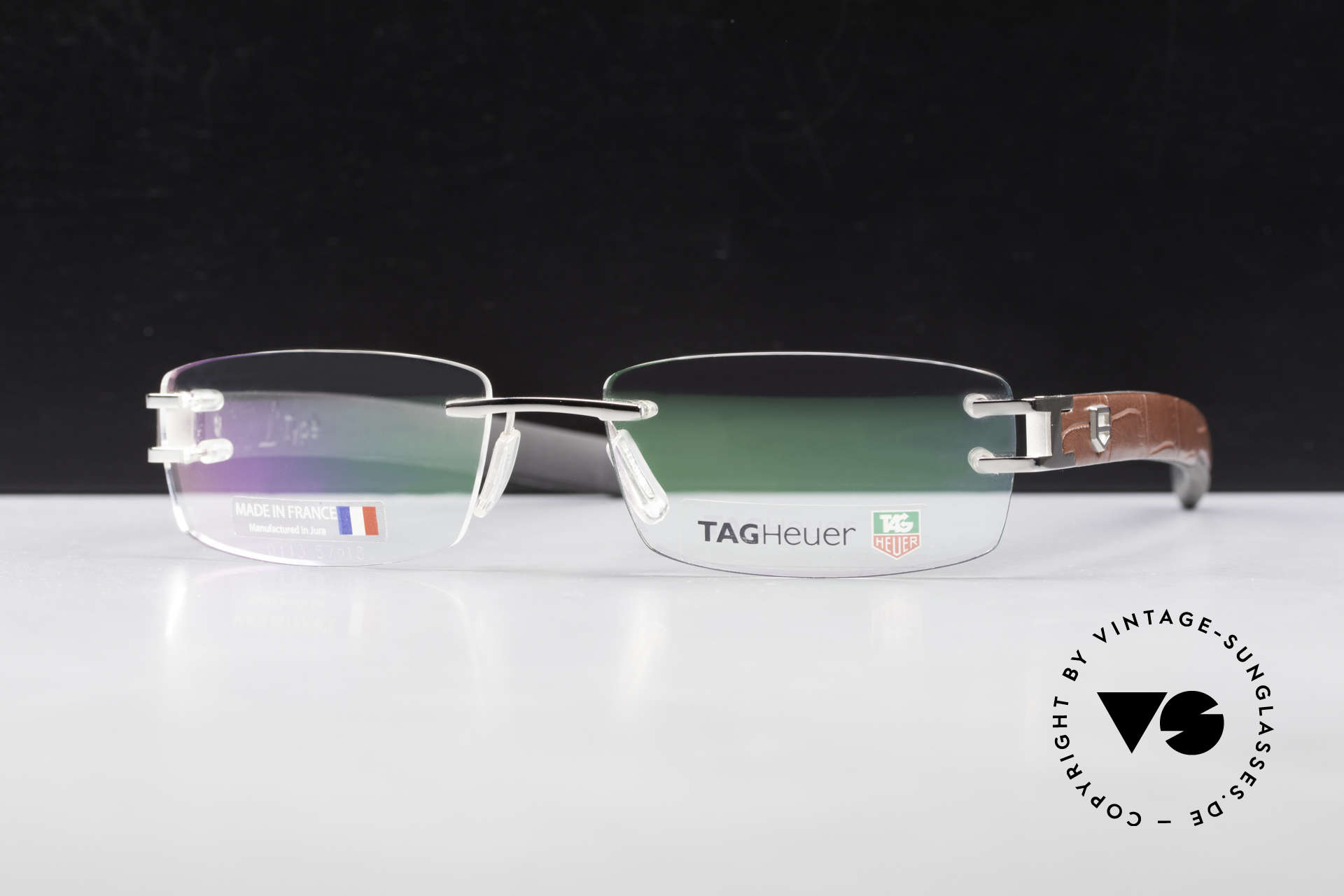 Tag Heuer L-Type 0113 Alligator Leather Rimless Frame, Tag Heuer L-Type glasses, model 0113 in size 57-18, Made for Men