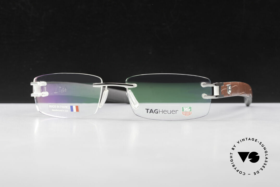 Tag Heuer L-Type 0113 Alligator Leather Rimless Frame, color-code 001 = precious Platinum-PLATED metal, Made for Men