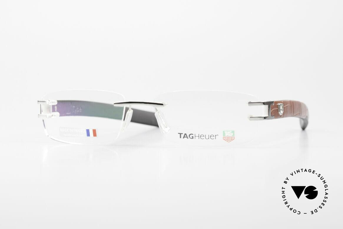 Tag Heuer L-Type 0113 Alligator Leather Rimless Frame, hypoallergenic elastomer (a FORMULA 1 innovation), Made for Men