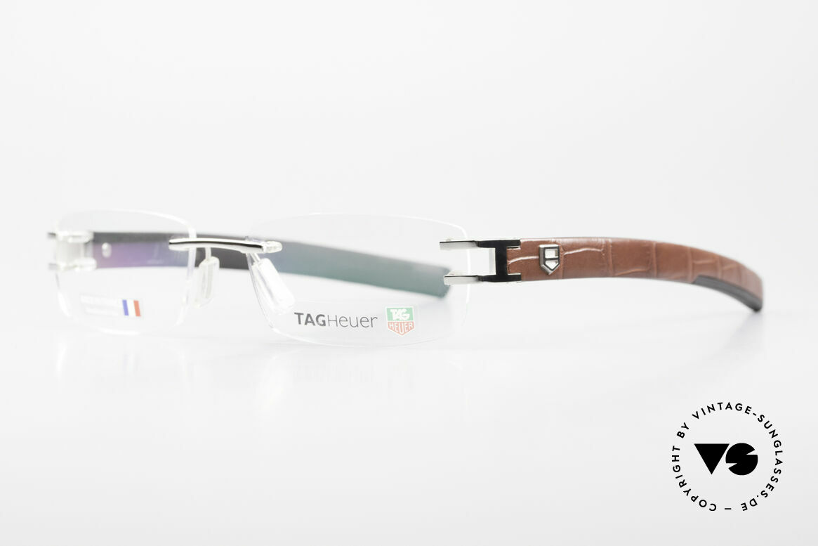 Tag Heuer L-Type 0113 Alligator Leather Rimless Frame, sporty & luxurious lifestyle for gentlemen, high-end, Made for Men
