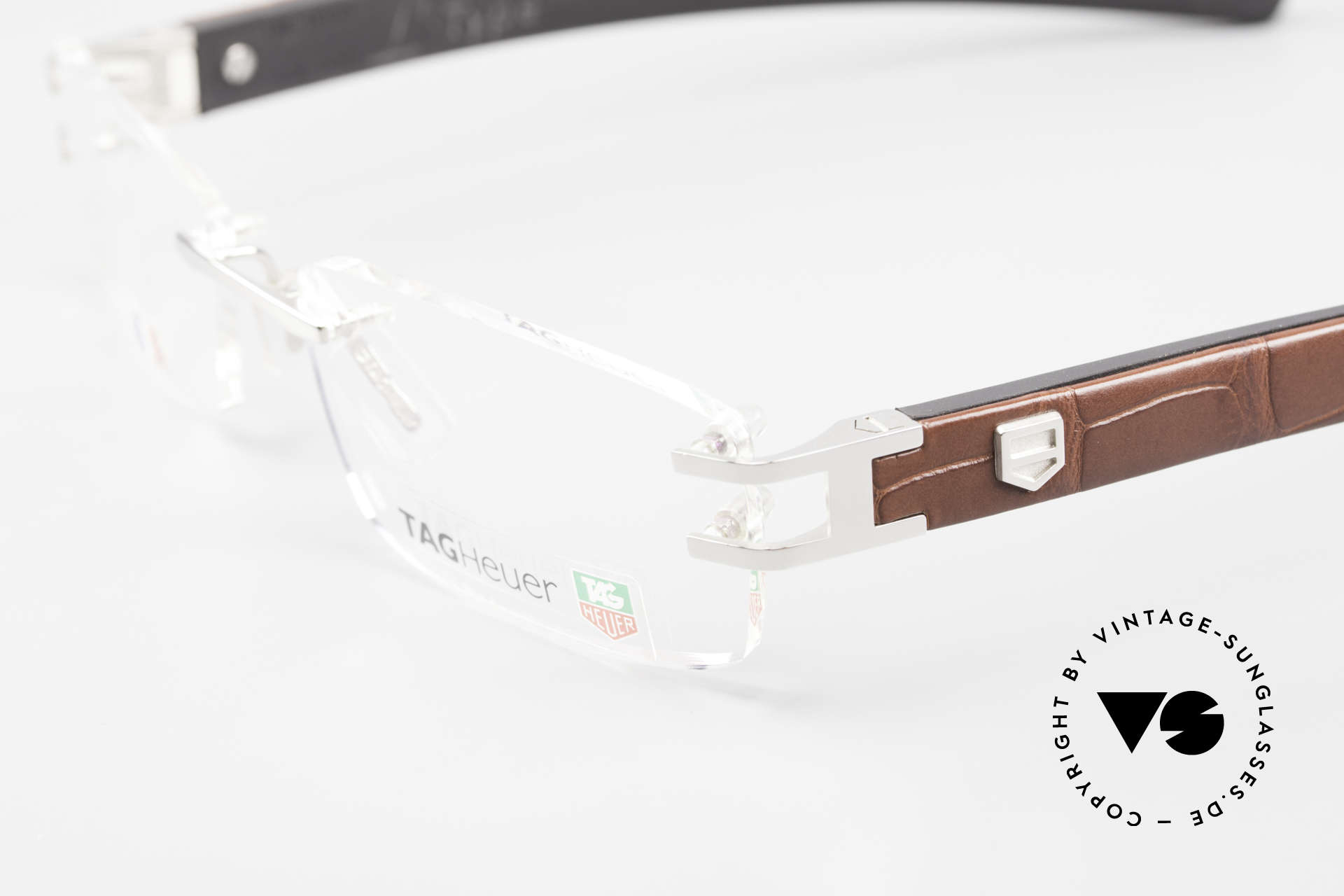 Tag Heuer L-Type 0113 Alligator Leather Rimless Frame, unworn rarity with original case & cloth by Tag Heuer, Made for Men