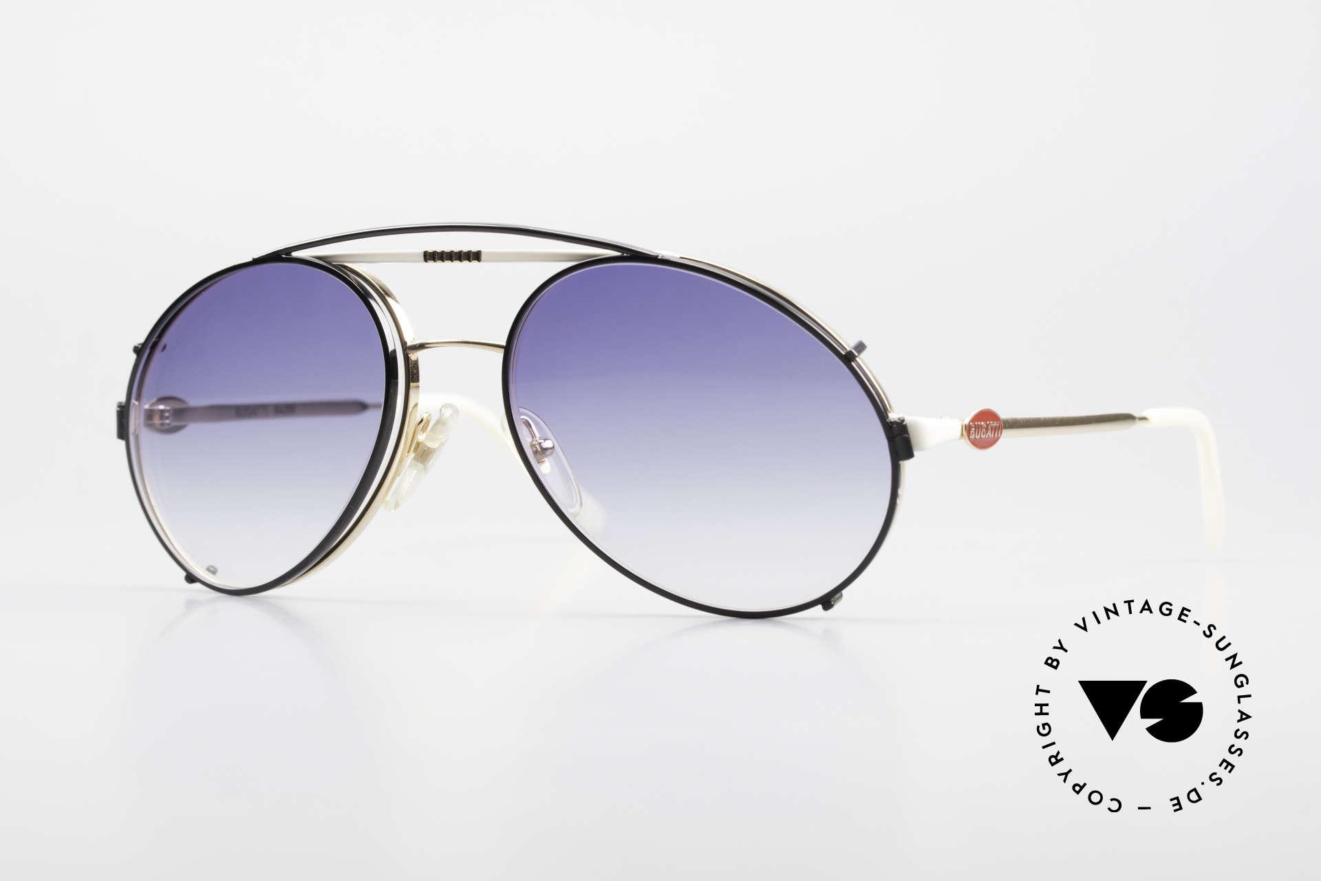 Bugatti 64319 80's Sunglasses With Clip On, rare vintage designer sunglasses by Bugatti, Made for Men