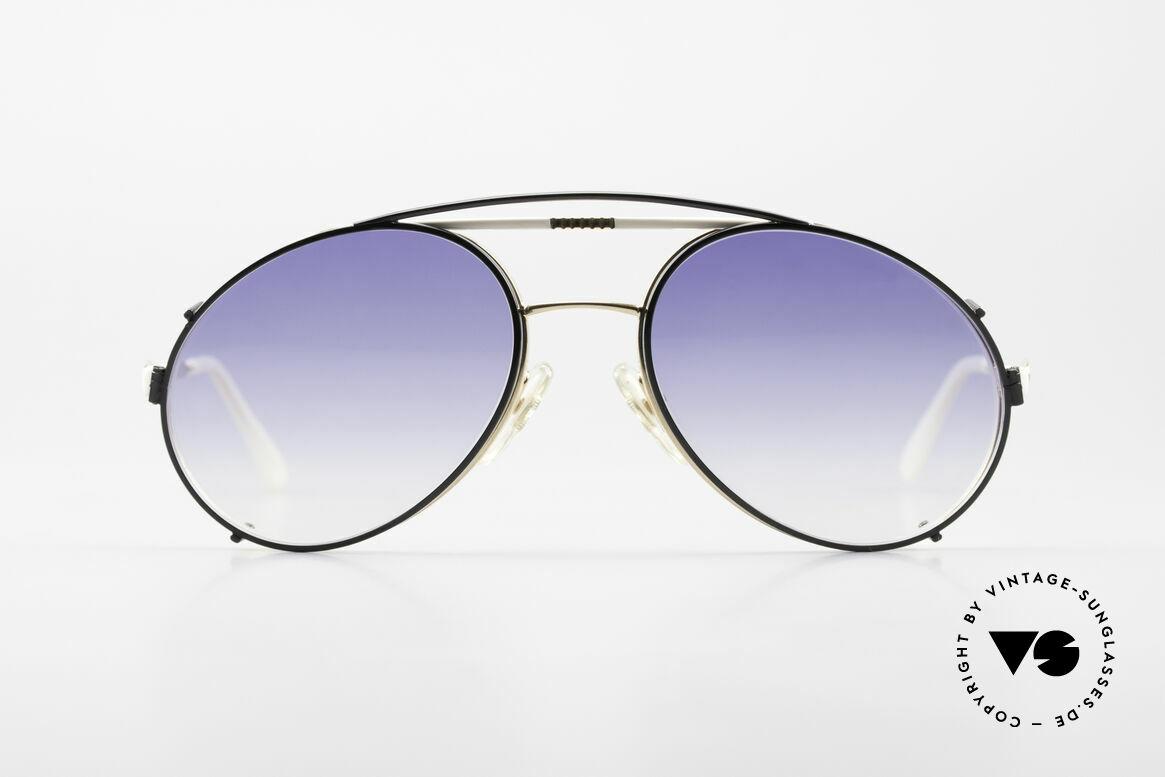 Bugatti 64319 80's Sunglasses With Clip On, classic Bugatti design from 1983 - NO retro!, Made for Men