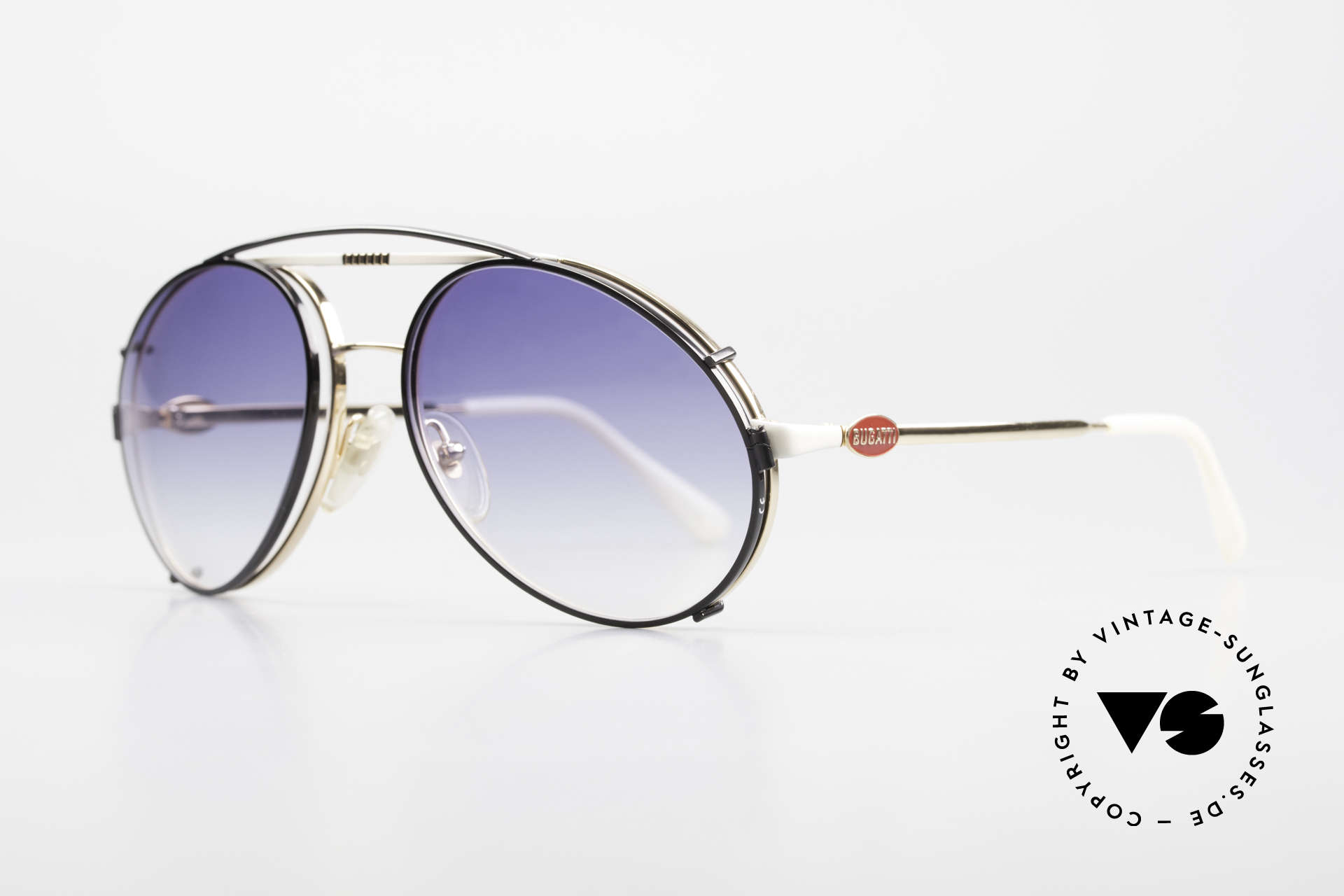 Bugatti 64319 80's Sunglasses With Clip On, best craftsmanship & very pleasant to wear, Made for Men