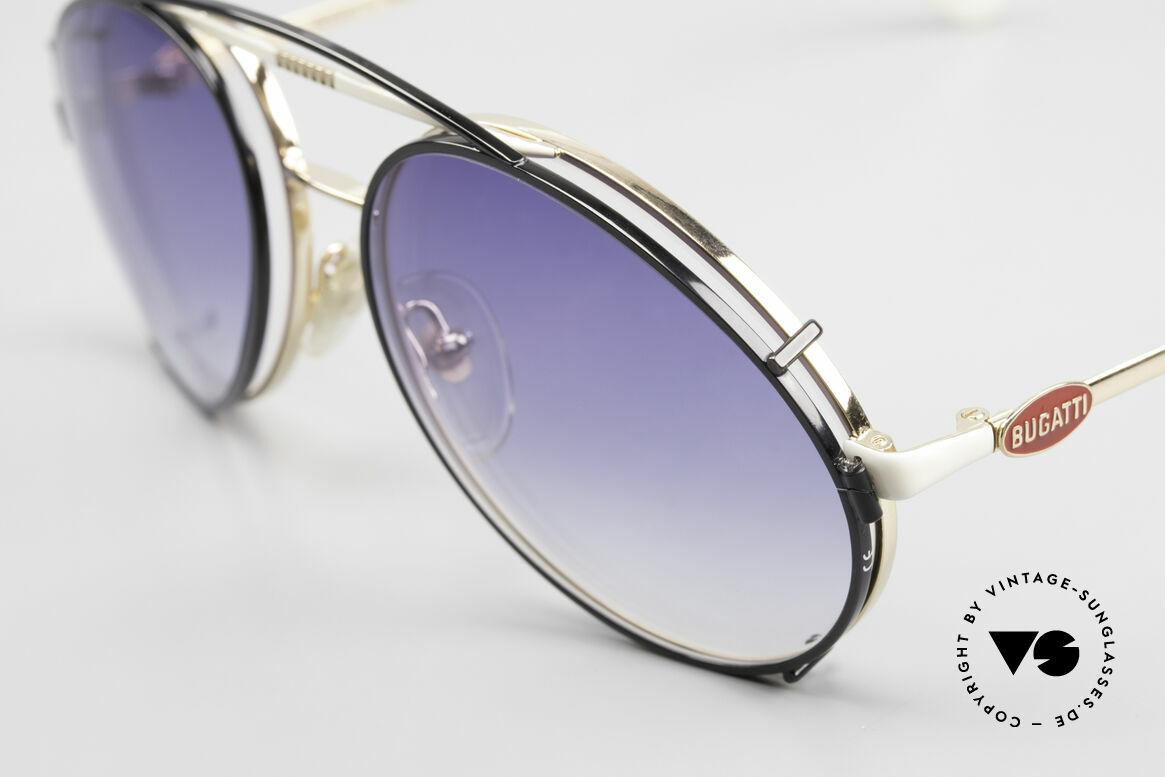 Bugatti 64319 80's Sunglasses With Clip On, rare luxury sunglasses in 54mm size (medium), Made for Men