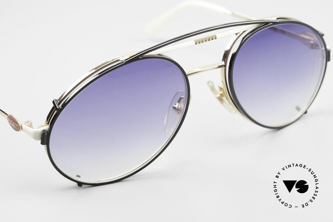 Bugatti 64319 80's Sunglasses With Clip On, unworn (like all our vintage Bugatti shades), Made for Men