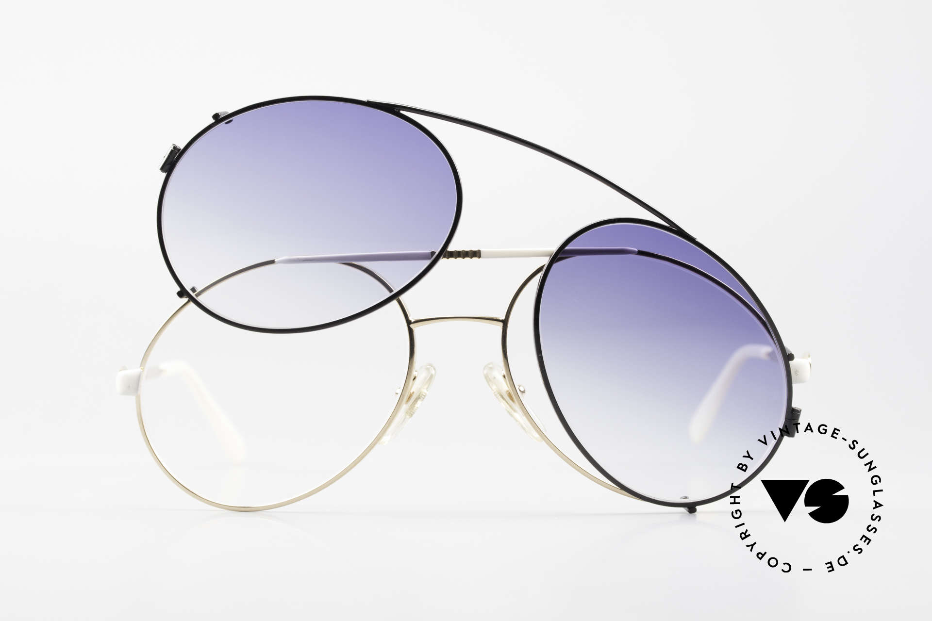 Bugatti 64319 80's Sunglasses With Clip On, great contrast: black clip-on vs. white frame, Made for Men