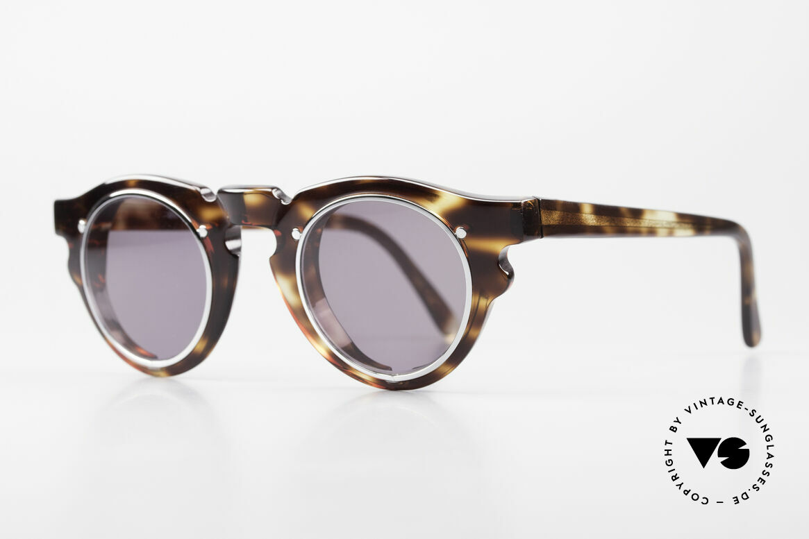 IDC 768 True Vintage Panto Sunglasses, acetate frame with silver chrome-plated lens holder, Made for Men and Women