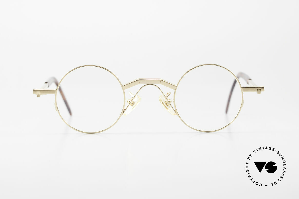 Christian Roth 2502 Round 90's Frame Bauhaus Style, rare vintage 90's designer eyeglasses, gold-plated, Made for Men and Women
