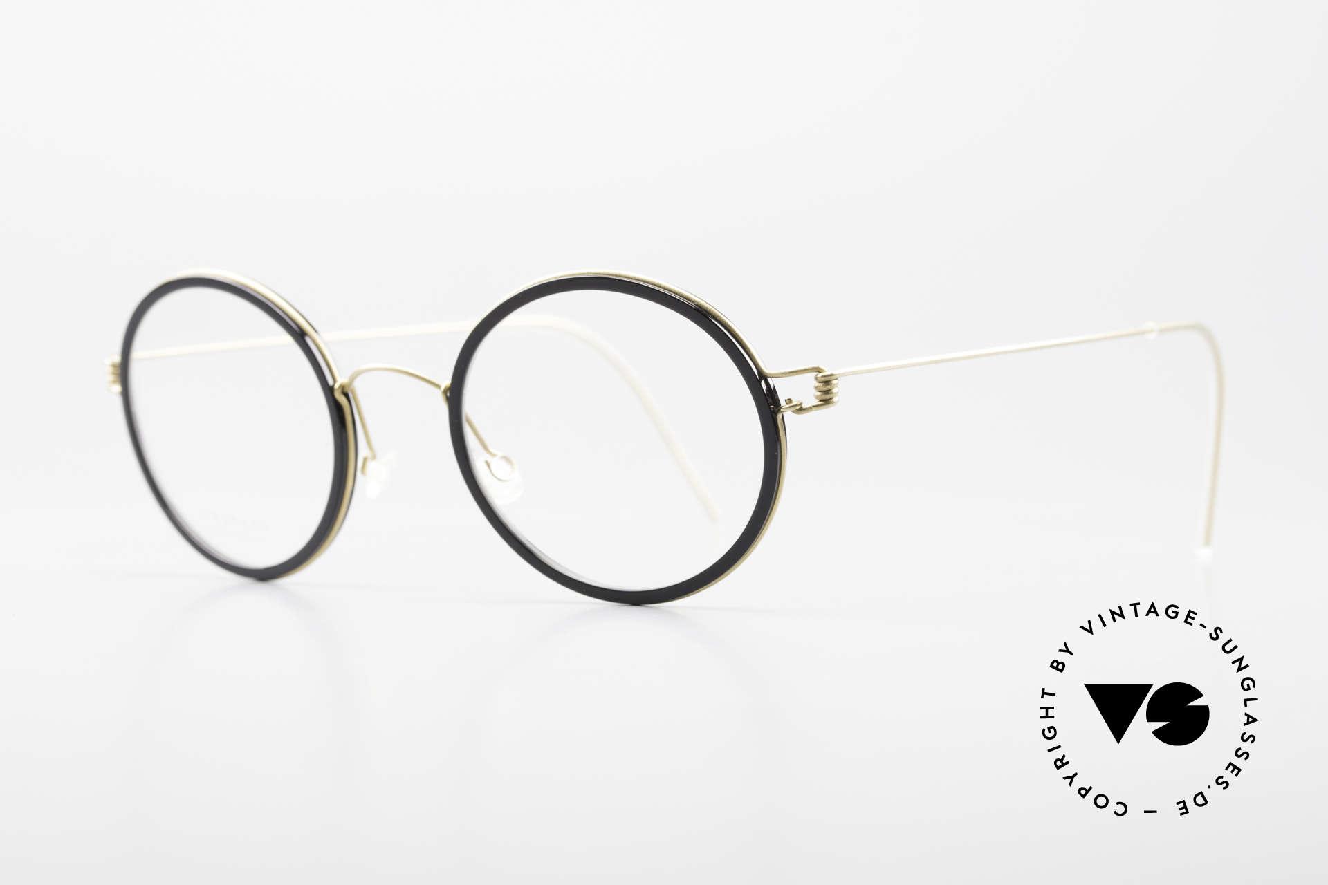Lindberg Cameron Air Titan Rim Round Titan Glasses Acetate, striking refined Air Titan frame with Acetate inner rim, Made for Men and Women