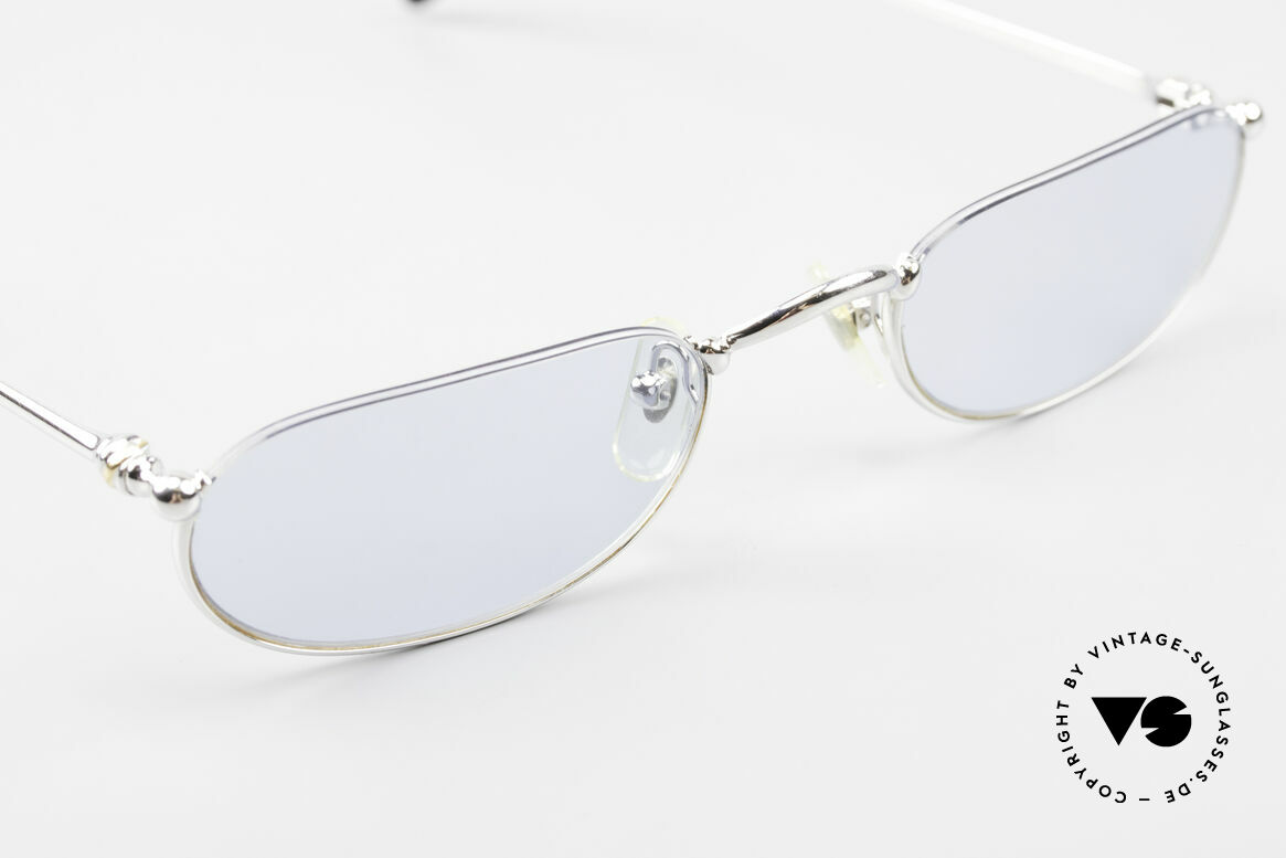 Cartier Demi Lune 2000 Oval Reading Frame Platinum, comes with an extra vintage hard case by CHANEL!, Made for Men and Women