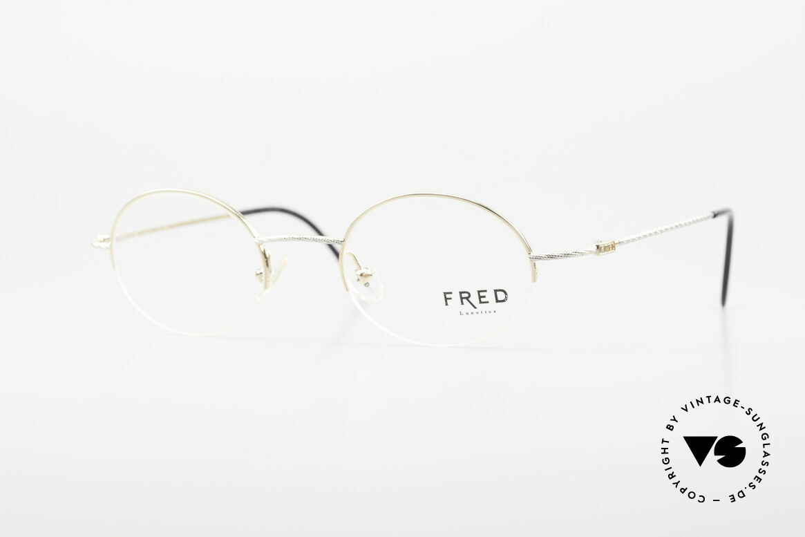 Fred F10 L02 90's Luxury Frame Semi Rimless, oval vintage Fred eyeglasses F10 L02: size 45/21, 130, Made for Men and Women
