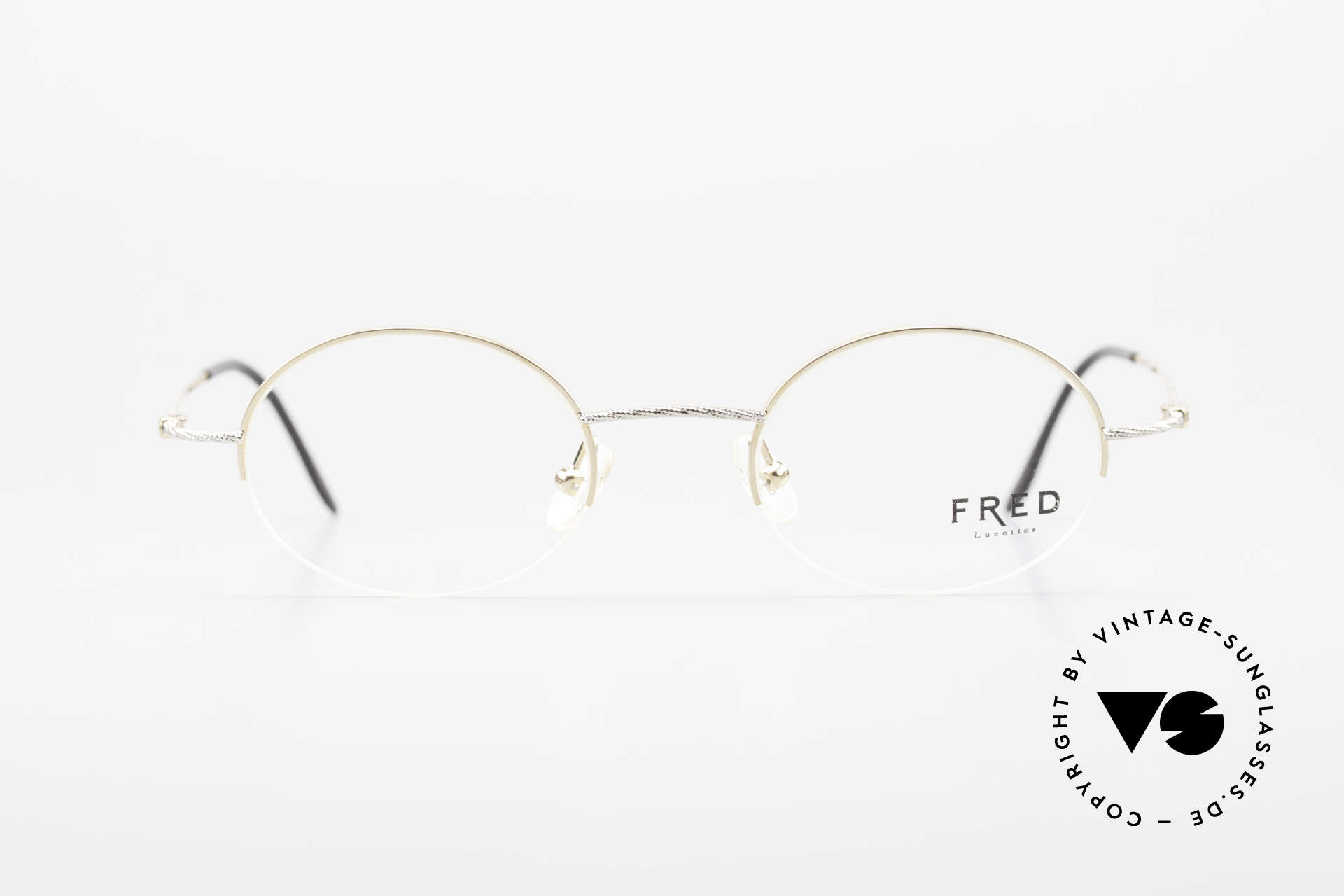 Fred F10 L02 90's Luxury Frame Semi Rimless, marine design (distinctive Fred) in high-end quality!, Made for Men and Women