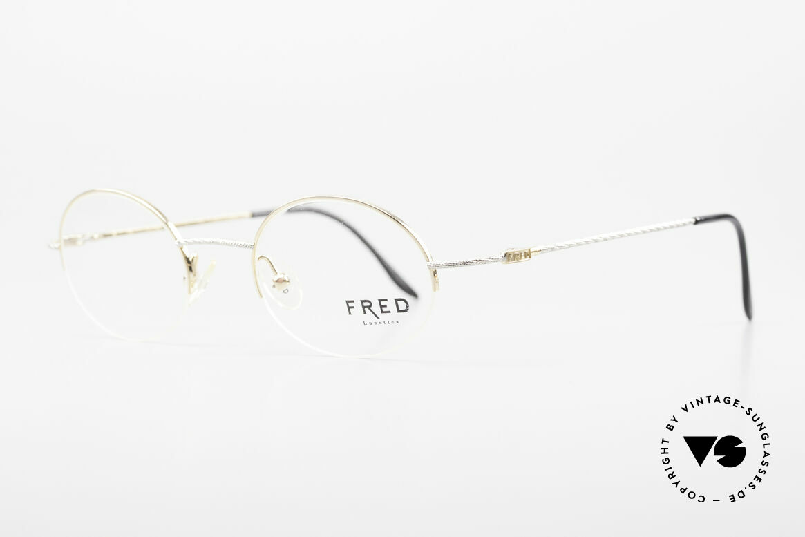 Fred F10 L02 90's Luxury Frame Semi Rimless, comfortable, half-rim luxury frame with serial number, Made for Men and Women