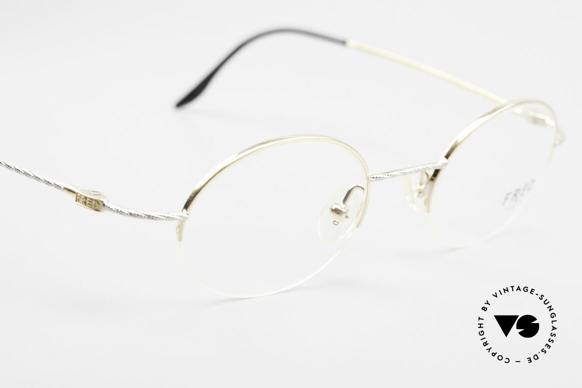 Fred F10 L02 90's Luxury Frame Semi Rimless, not retro, but original 90's commodity; rarity & vertu, Made for Men and Women