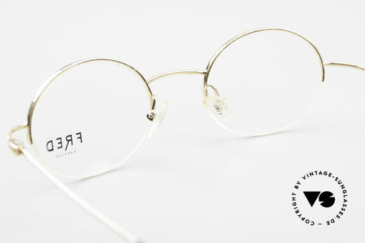 Fred F10 L02 90's Luxury Frame Semi Rimless, DEMO lenses can be replaced with prescription lenses, Made for Men and Women