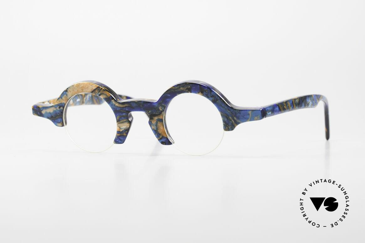 "Proksch's A2 Futuristic Round 90's Eyeglasses, ""crazy"" vintage eyeglasses with half frame design, Made for Men and Women"