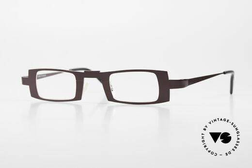 Theo Belgium Michael Square Titanium Glasses Claret Details